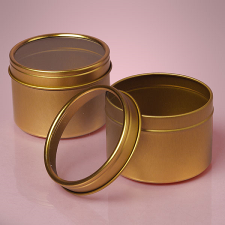Large Gold Windowed Tins Tin Gift Box Gold Round Favor Tin