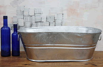 Galvanized Oval Tub 7 5 Gallon Produce Display Bin Metal Basin