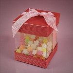 Large Pink Coral Box With Cap & Bow - 48ct