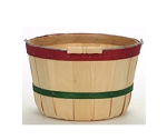Quarter Peck Baskets - Red and Green Bands - 12ct