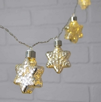 LED Silver Snowflakes Mercury Glass String Lights - 4ft