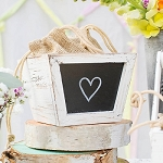 Square Wooden Vase Box w/Chalkboard -5