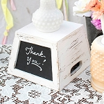 Square Wooden Vase Box w/Chalkboard -7