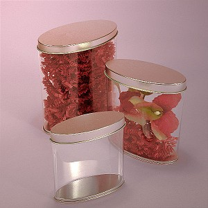 24 Oz Clear PVC Sides Oval Tin Cans - 96ct