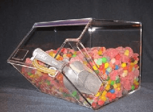 Acrylic Candy Bin w/Angled Scoop Holder