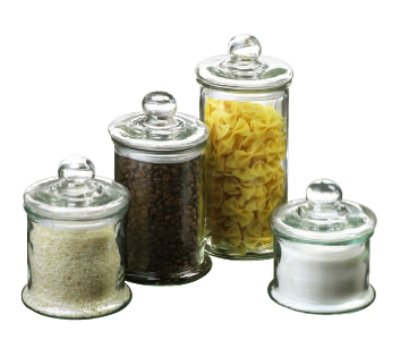 4 Piece Round Glass Canister Set Glass Candy Containers