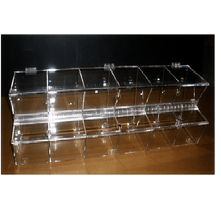 Hinged Lid Top Gravity Fed Dispenser Snack Container Bins