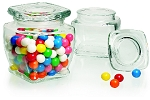 10 oz Square Glass Jars With Covers - 12ct
