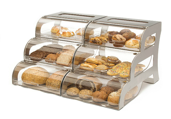 Large Tiered Steel Bakery Display Pastry Display Case
