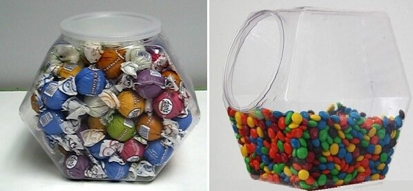 Plastic Hexagon Candy Jars