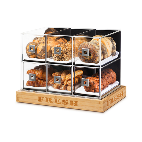6 Drawer Bakery Case W Bamboo Base Acrylic Bakery Display
