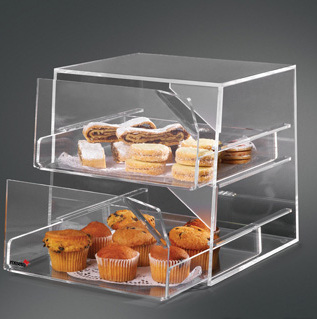 Acrylic Bakery Display W 2 Sliding Compartments Tiered