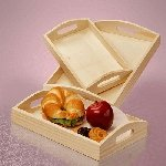 Large Slot Handle Wood Tray 3pc Set - 6 Sets
