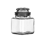 36 oz Square Glass Canisters w/Lids - 6ct