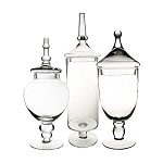 Tall Glass Apothecary Jars - Set of 3