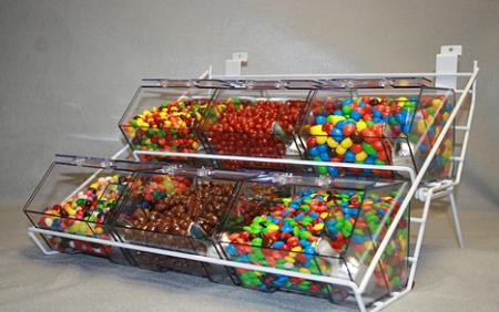 Jumbo Mini Rack With 6 Bins Candy Storage Display