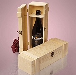 Wood Wine Hinged Box - 6ct
