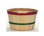 One Peck Baskets - Red and Green Bands - 12ct