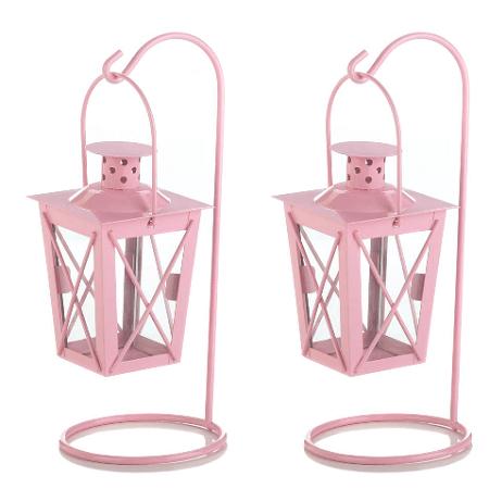 Pink Hanging Railroad Lanterns - 2ct