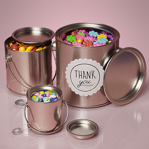 Large Round Steel Buckets W Handles Candy Buffet Container