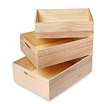 Large 3pc Wooden Tray Set w/Handles - 6 Sets