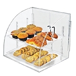 Acrylic Curved Food Display Case w/Swing Doors