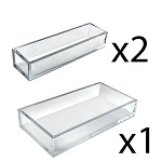 Clear Narrow 3pc Tray Set