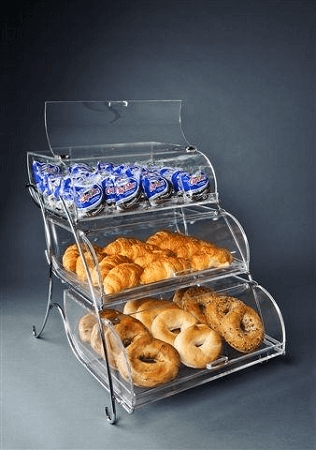 3 Tier Bakery Display Case Stylish Case Baked Goods Stand