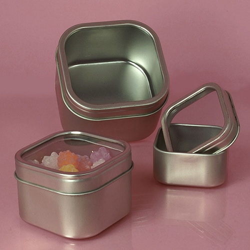 Windowed Square Tins 12oz Party Favors Gift Boxes