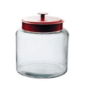 1 5 Gallon Montana Glass Jar With Red Lid Glass Candy Bins