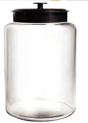 2 Gallon Montana Glass Jar w/Black Metal Lid