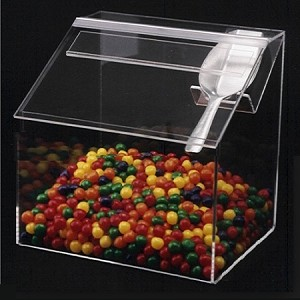 Clear Acrylic Candy Bin w/Vertical Scoop Holder