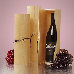 Medium Cylinder Wood Wine Box - 6ct