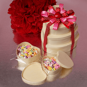 Wooden Heart Boxes 5pc Set - 6 Sets