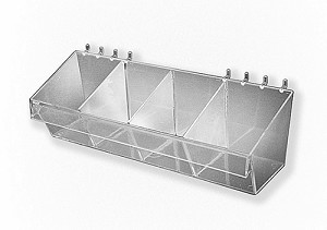 Plastic Bin Slatwall Pegboard Clear Divided Container