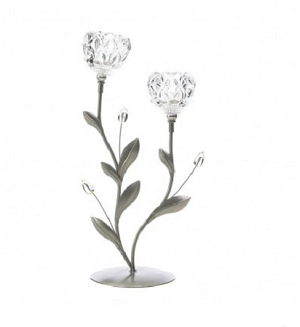 Duo Crystal Flower Candle Holder