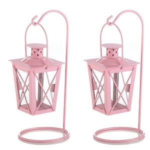Pink Hanging Railroad Lanterns - 2ct